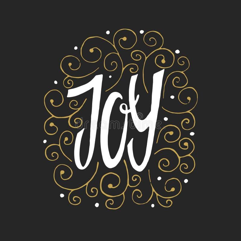 Joy To The World - hand dragen bokstäver ljus vektorvärld för konst Stor designbeståndsdel för lyckönskankort, baner och reklambl royaltyfri illustrationer