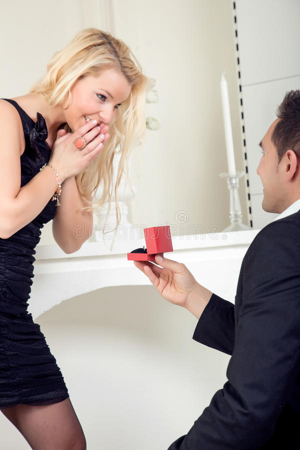 Joy of the wedding proposal royalty free stock images