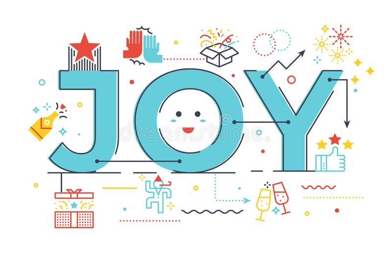 Joy word lettering illustration. With icons for web banner, flyer, landing page, article, etc vector illustration