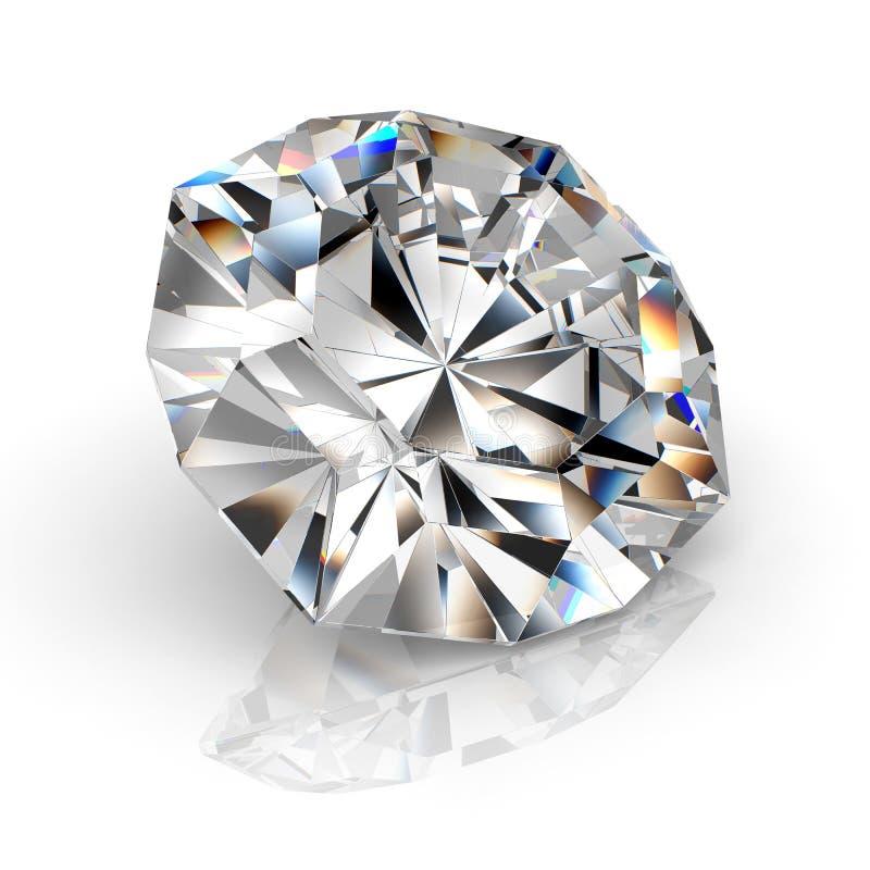 Joya del diamante de la imagen en el fondo blanco Imagen brillante chispeante hermosa de la esmeralda de la forma redonda 3D hace stock de ilustración