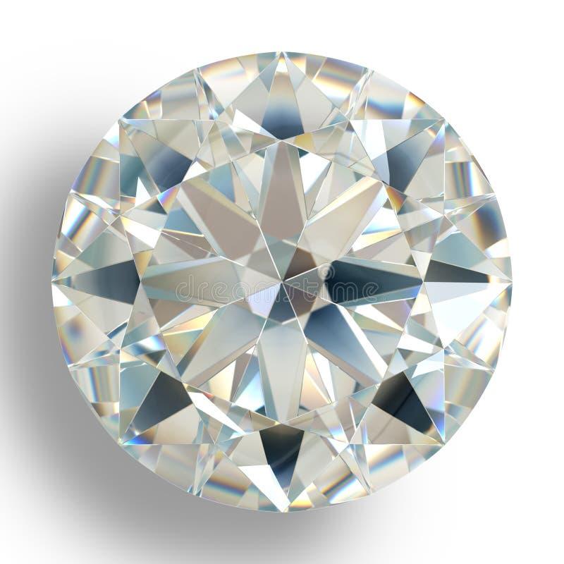 Joya del diamante de la imagen en el fondo blanco Imagen brillante chispeante hermosa de la esmeralda de la forma redonda fotos de archivo
