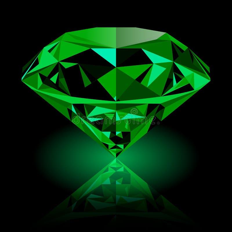 Joya esmeralda verde brillante realista ilustración del vector