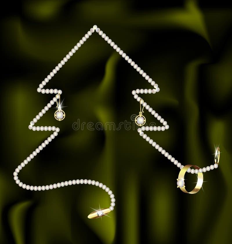 Joya y árbol de navidad stock de ilustración