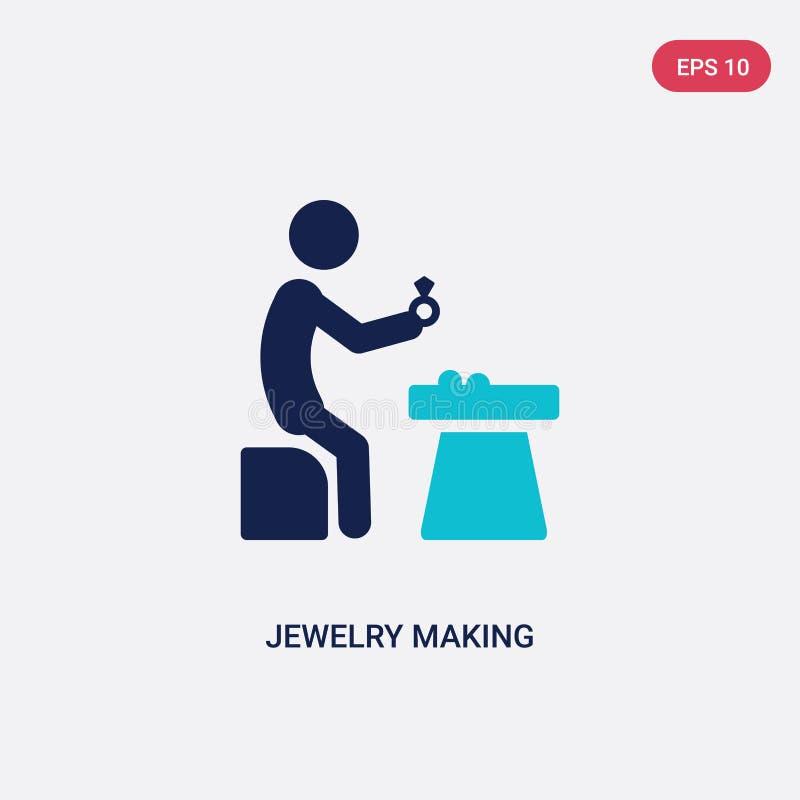 joyería bicolor que hace el icono del vector de actividad y de concepto de las aficiones la joyería azul aislada que hace símbolo stock de ilustración