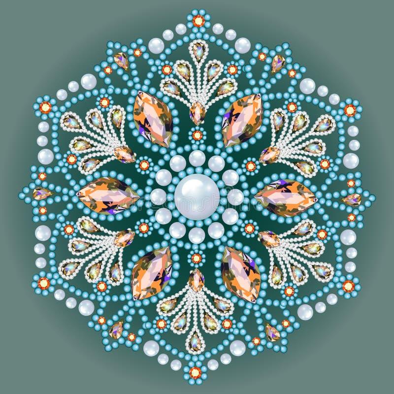 Joyería de la broche, elemento del diseño Palmadita floral étnica tribal libre illustration