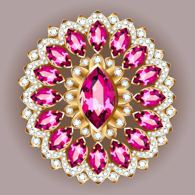 Joyería de la broche, elemento del diseño Vintage geométrico l vagos stock de ilustración