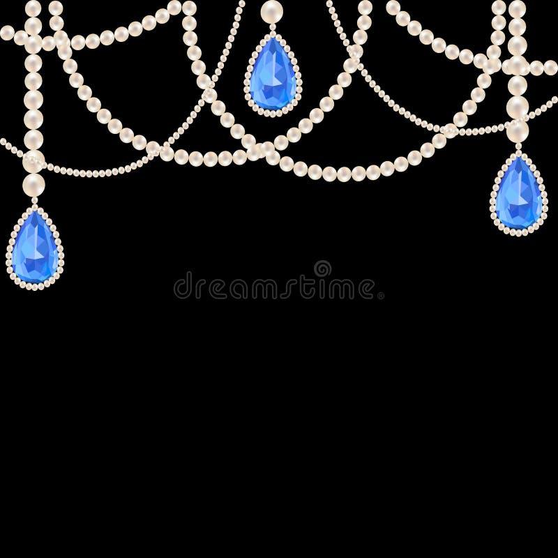 Joyería del collar de la perla de la ejecución stock de ilustración
