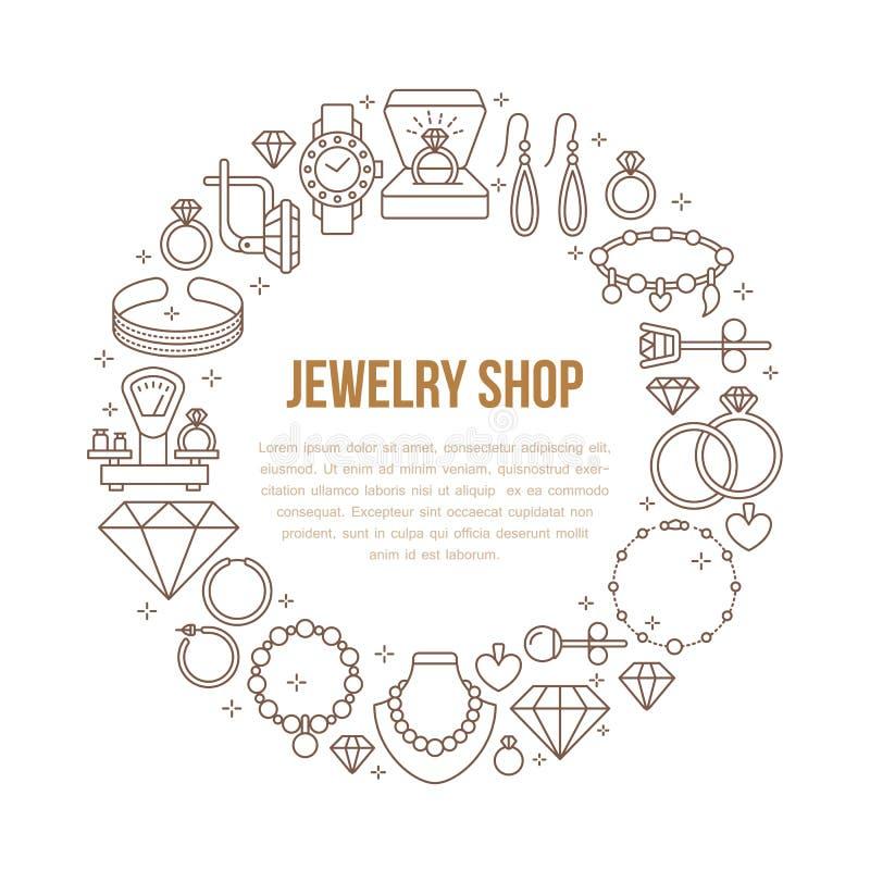 Joyería, ejemplo de la bandera de los accesorios del diamante Vector la línea icono de joyas - anillos de compromiso del oro, pen libre illustration