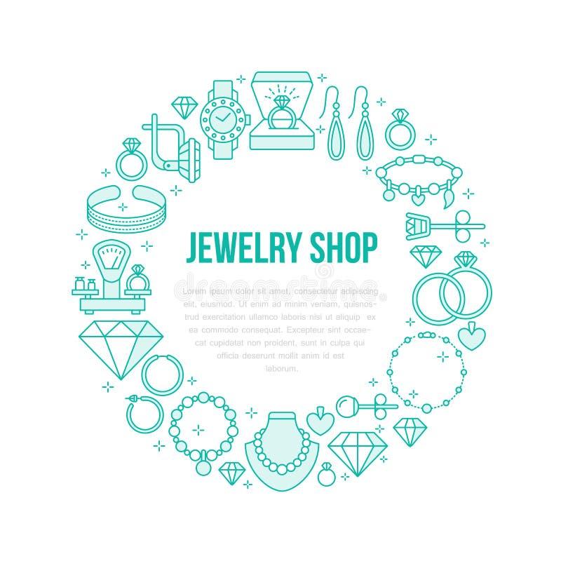 Joyería, ejemplo de la bandera de los accesorios del diamante Vector la línea icono de joyas - anillos de compromiso del oro, pen stock de ilustración