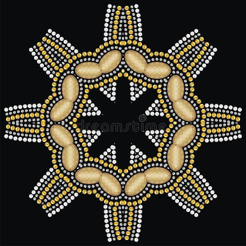 Joyería hermosa redonda, medallón, broche, decoración en el cuello, mandala, diamantes artificiales del applique stock de ilustración