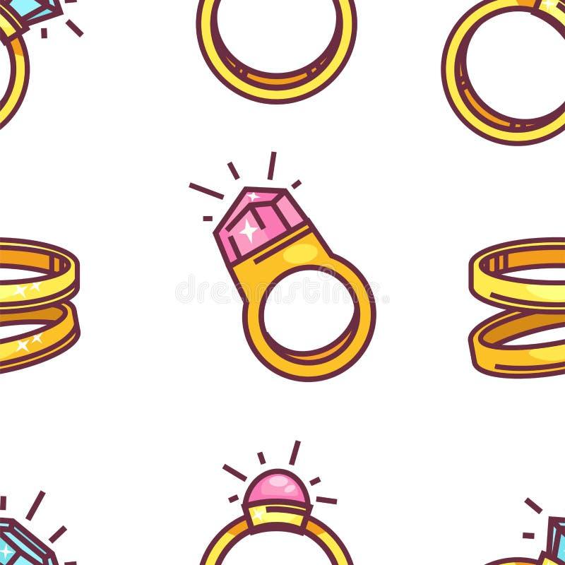 Joyería inconsútil del oro del modelo de la boda y del anillo de compromiso libre illustration