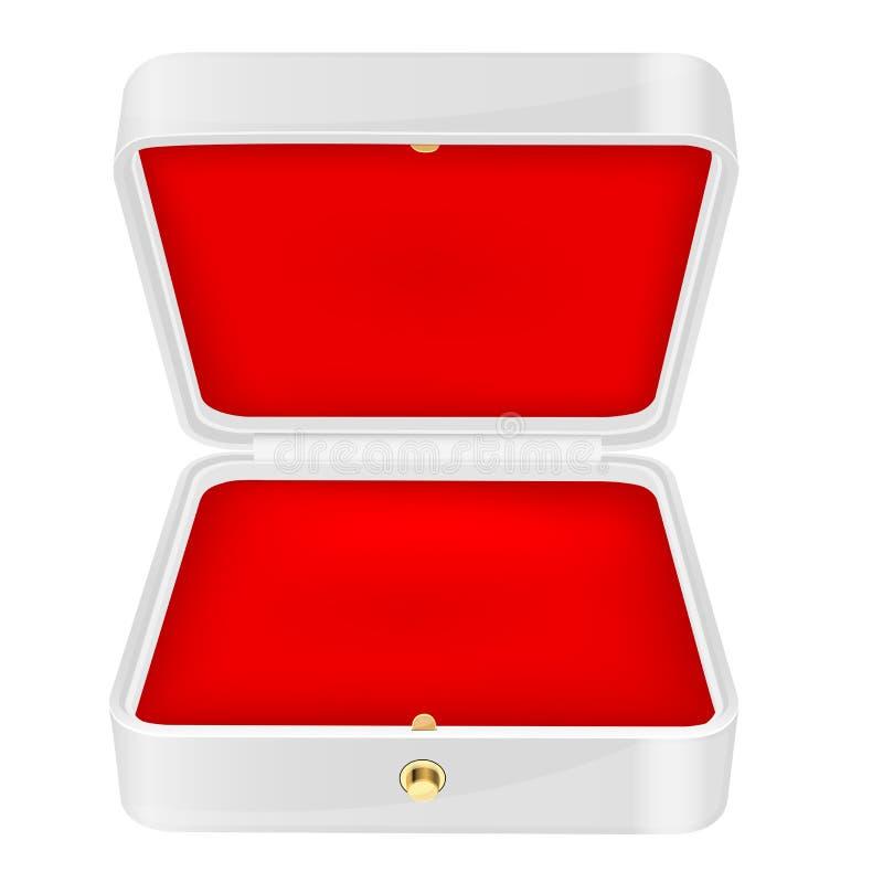 Joyero blanco abierto con la guarnición roja del terciopelo libre illustration