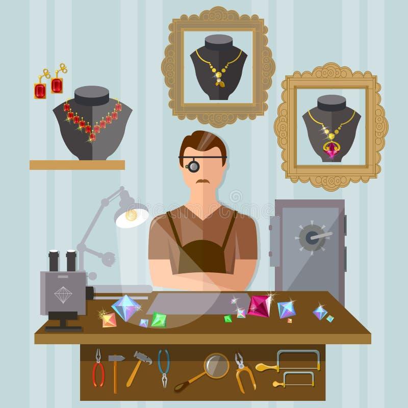 Joyero en el lugar de trabajo que hace la joyería libre illustration