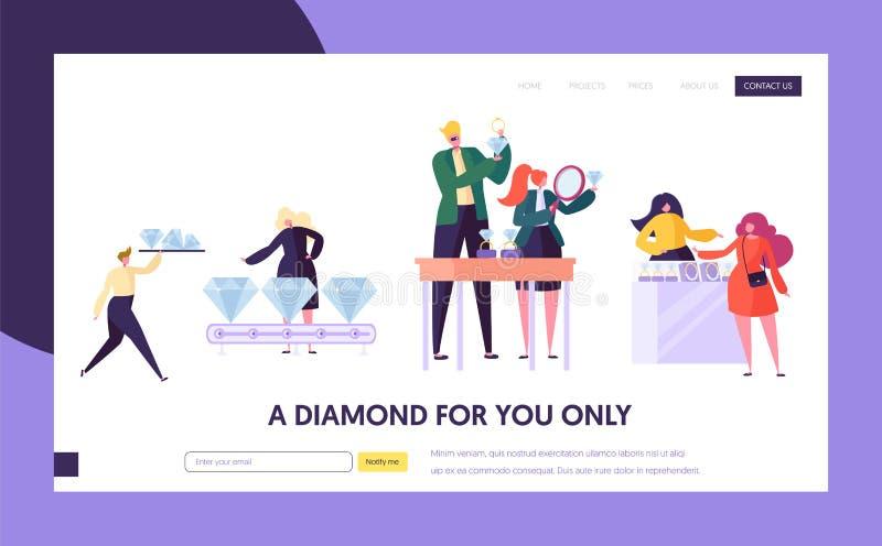 Joyero Seller Hold Gem Landing Page El carácter de la mujer elige a Diamond Ring de lujo en la tienda Página web del concepto de  stock de ilustración