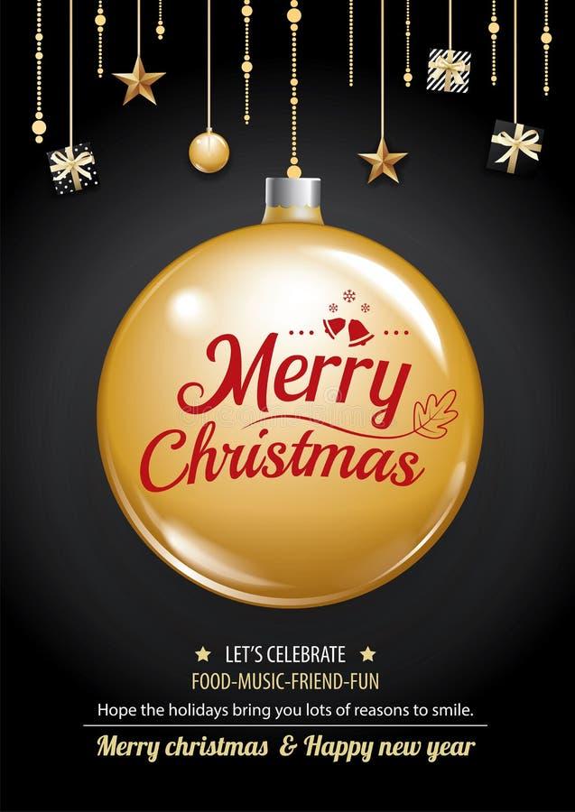 Joyeuse boule de fête de Noël et d'or sur l'invitatio foncé de fond illustration de vecteur