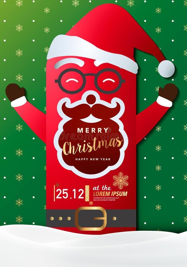 Joyeuse carte d'invitation de fête de Noël, fond, conception d'illustration de vecteur photos stock