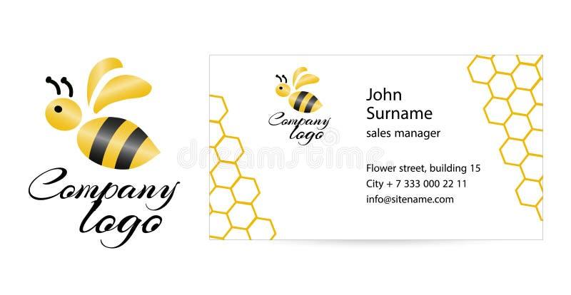 Joyeuse carte de visite professionnelle de visite d'abeille illustration de vecteur