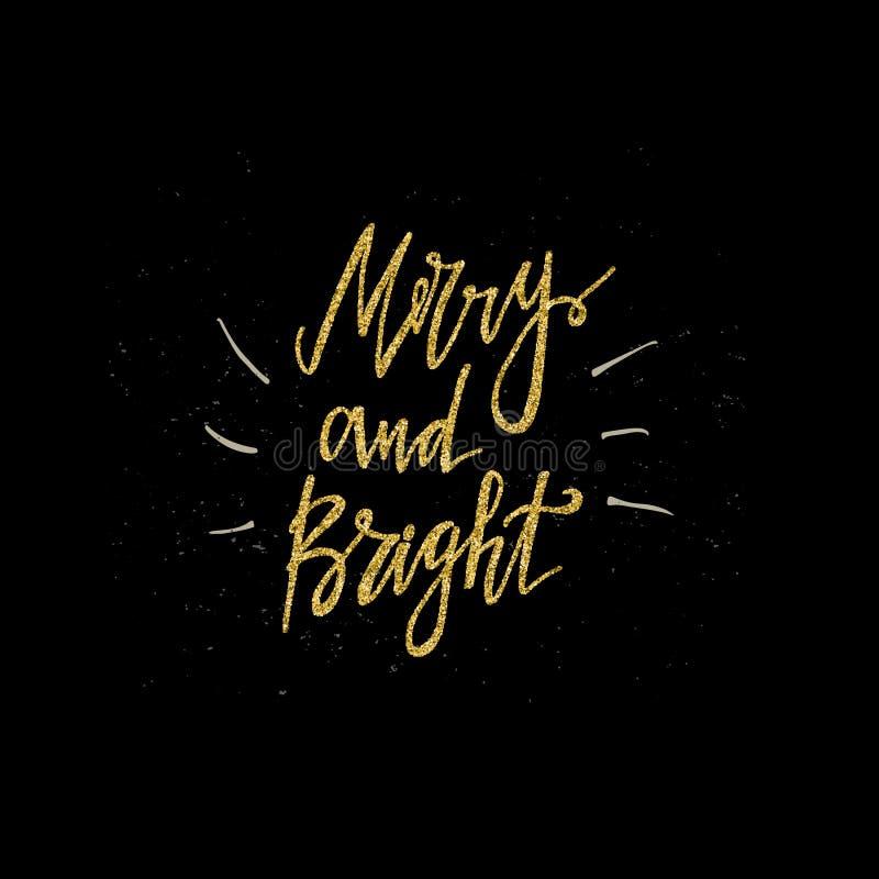 Joyeuse et lumineuse expression de calligraphie avec la texture de scintillement d'or Lettrage moderne Invitation d'an neuf Utili images stock