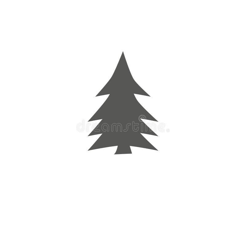 Joyeuse icône d'arbre de Chrismas réglée sur l'illustration blanche de vecteur de fond desing à plat illustration libre de droits