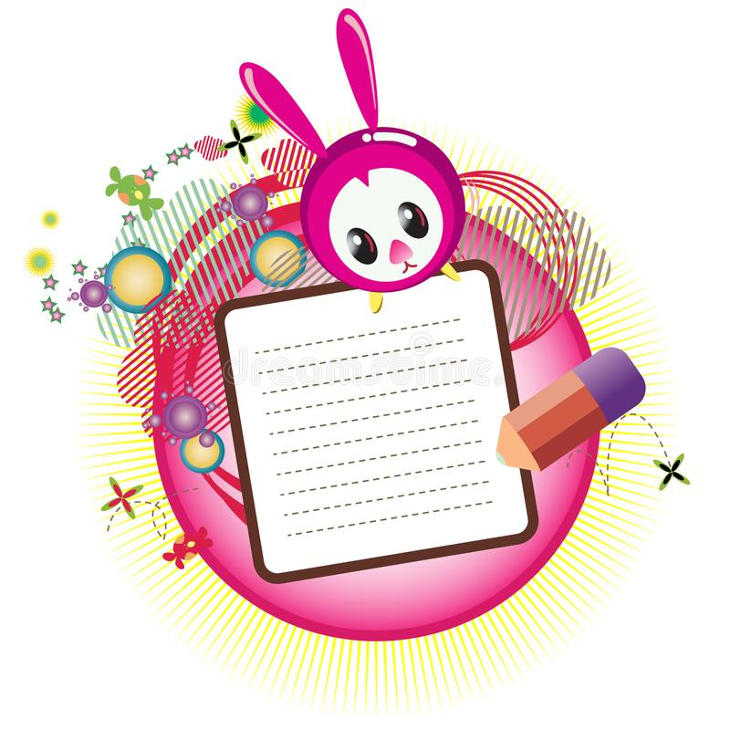 Joyeuses Pâques avec le lapin principal mignon illustration stock