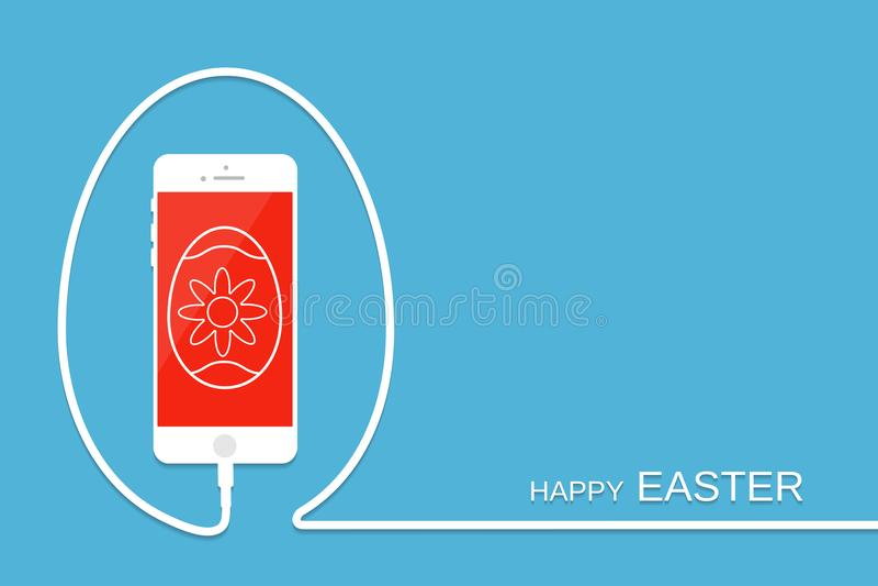 Joyeuses Pâques avec le téléphone, le fil et l'oeuf Fond de célébration S illustration libre de droits