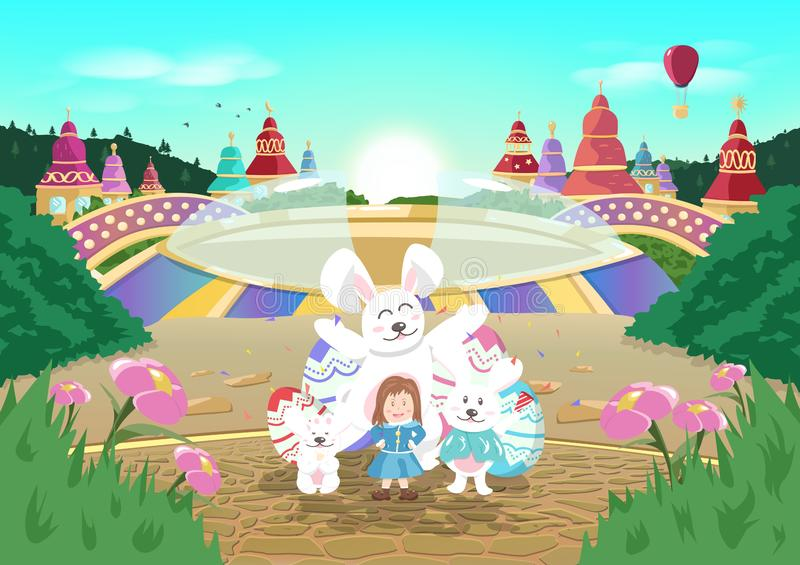 Joyeuses Pâques, carnaval, Sun se levant, bande dessinée de ville d'imagination d'histoire de conte, partie de célébration en aff illustration de vecteur