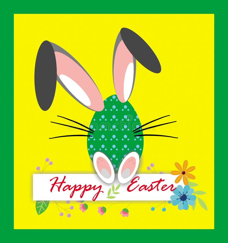 Joyeuses Pâques, carte drôle de clipart d'oeufs sur le fond jaune illustration libre de droits
