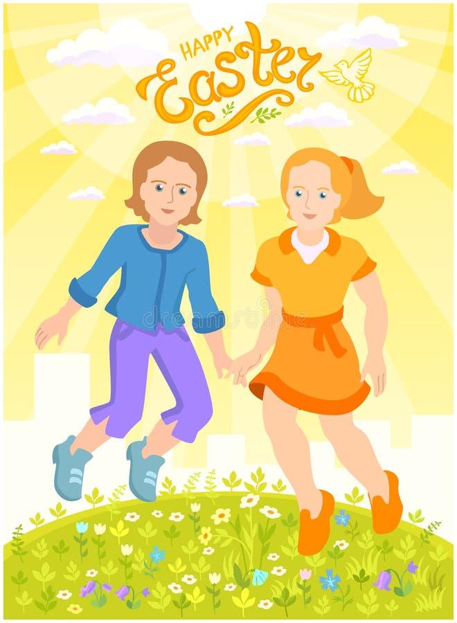 Joyeuses Pâques - carte postale ensoleillée avec le garçon et la fille illustration stock