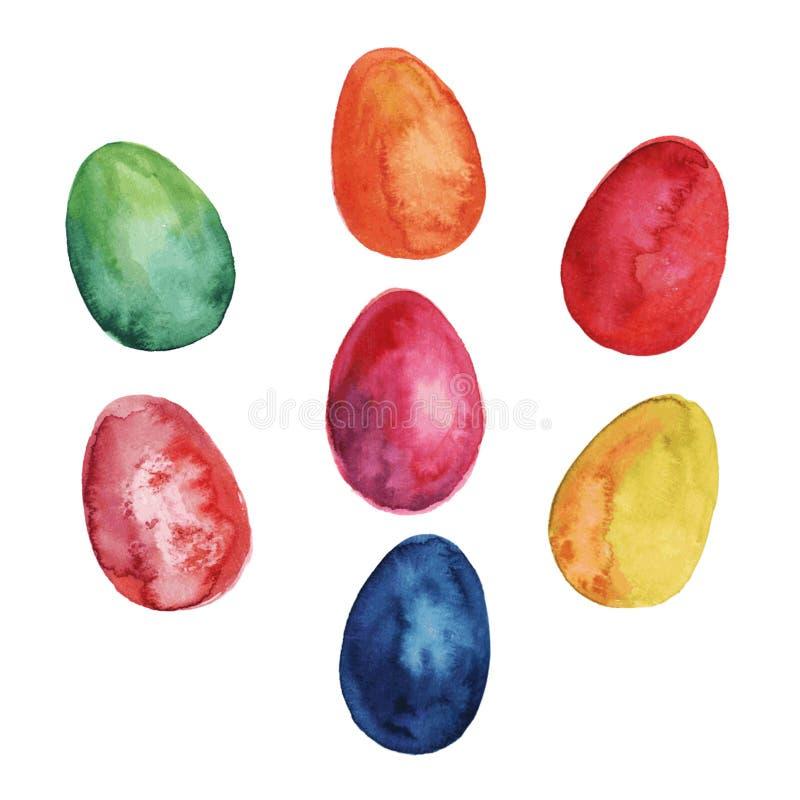 Joyeuses Pâques Ensemble d'aquarelle d'oeufs de pâques colorés tirés par la main d'isolement sur le fond blanc Pour le design de  illustration stock