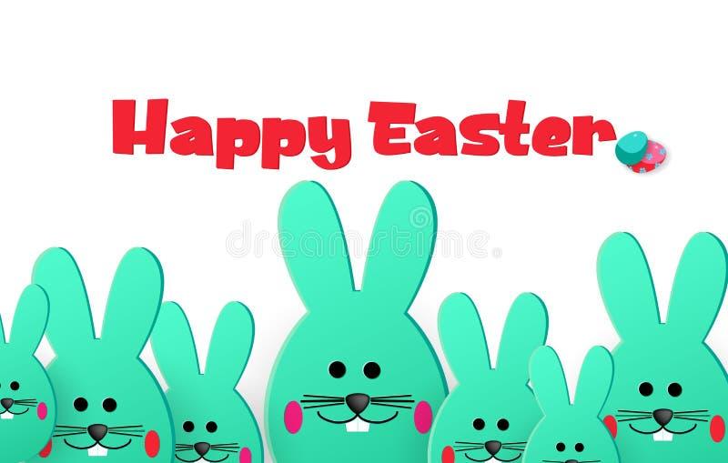 Joyeuses Pâques Pâques grande et petits lapins regardant loin sur un fond blanc Descripteur pour la carte de voeux style de coupe illustration de vecteur