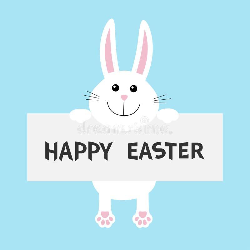 Joyeuses Pâques Lapin blanc accrochant sur le calibre de carton Paw Print Visage principal drôle Grandes oreilles Personnage de d illustration libre de droits