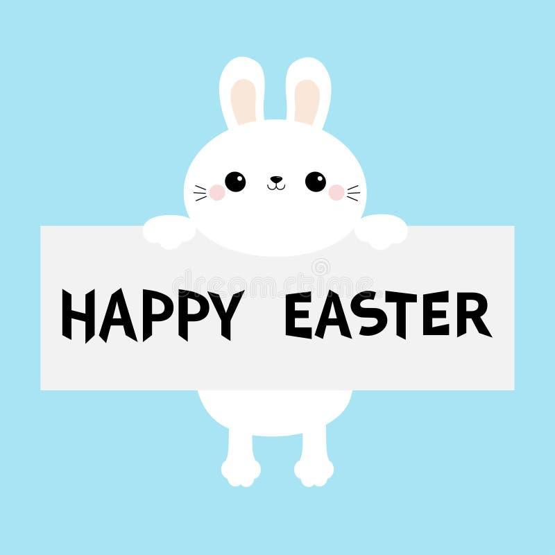 Joyeuses Pâques Lapin blanc accrochant sur le calibre de carton Paw Print Visage principal drôle Personnage de dessin animé migno illustration stock