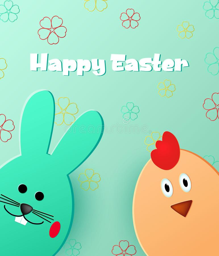 Joyeuses Pâques Lapin et poussin de Pâques regardant le fond vert Descripteur pour la carte de voeux style de coupe de papier illustration stock