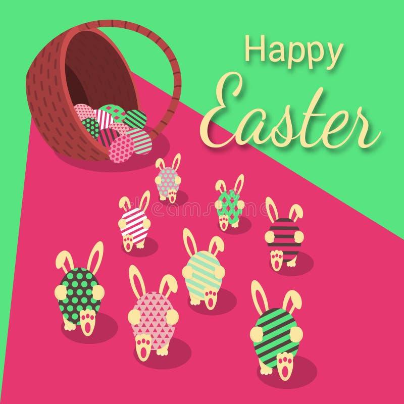 Joyeuses Pâques Les lapins portent des oeufs du panier illustration de vecteur