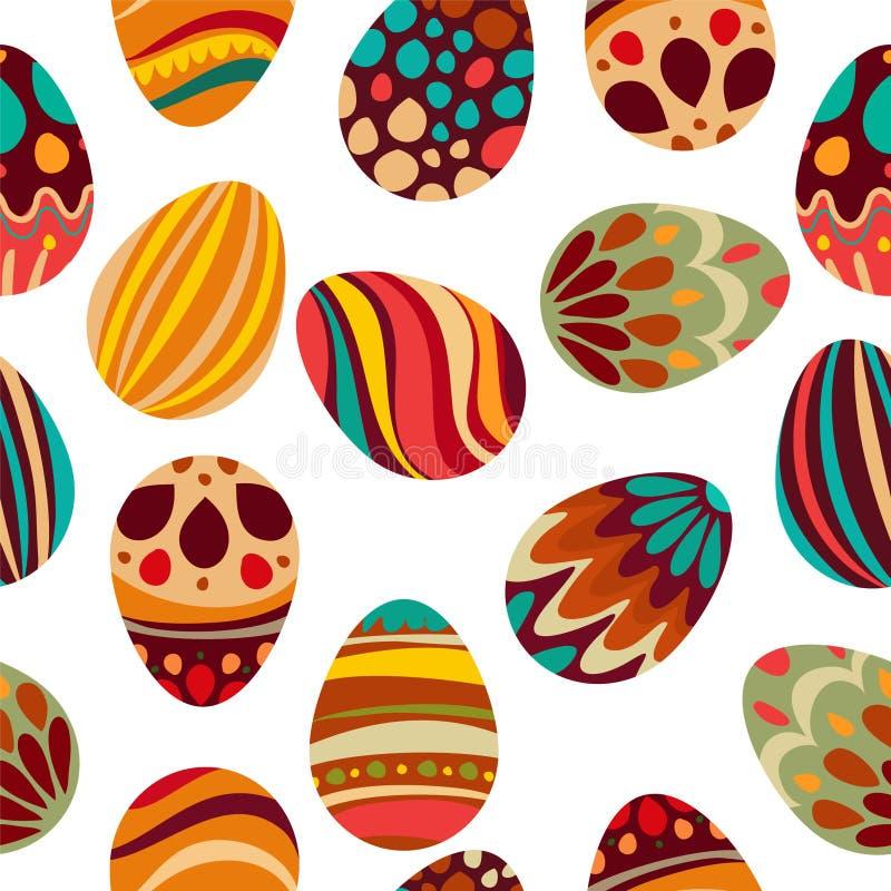Joyeuses Pâques ! Les vacances heureuses eggs le modèle, fond sans couture pour votre design de carte de salutation Oeufs de pâqu illustration de vecteur