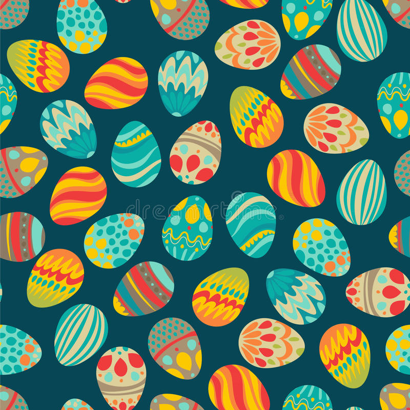 Joyeuses Pâques ! Les vacances heureuses eggs le modèle, fond sans couture pour votre design de carte de salutation Oeufs de pâqu illustration libre de droits