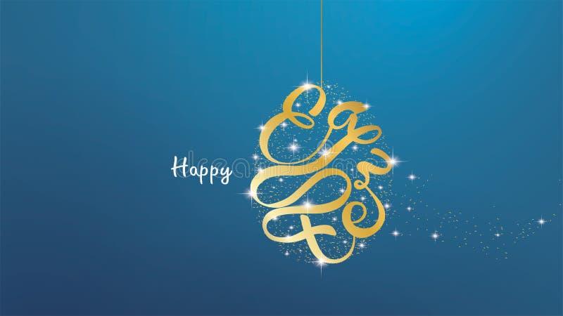 Joyeuses Pâques marquant avec des lettres le fond dans le cadre de forme d'oeufs avec des confettis, éclaboussure d'or de brosse, illustration de vecteur