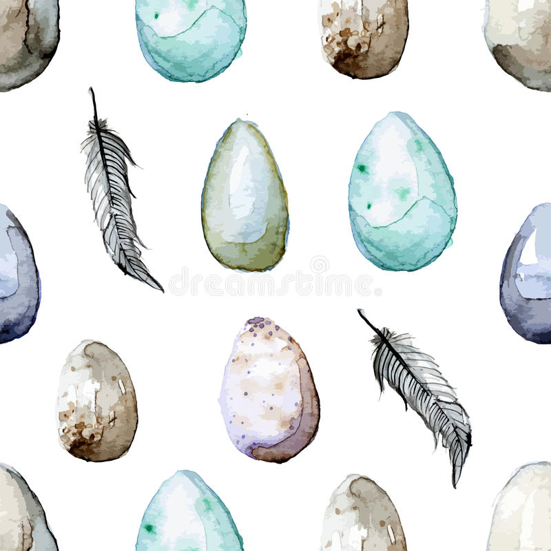 Joyeuses Pâques ! Modèle sans couture tiré par la main d'oeuf de pâques d'aquarelle illustration de vecteur