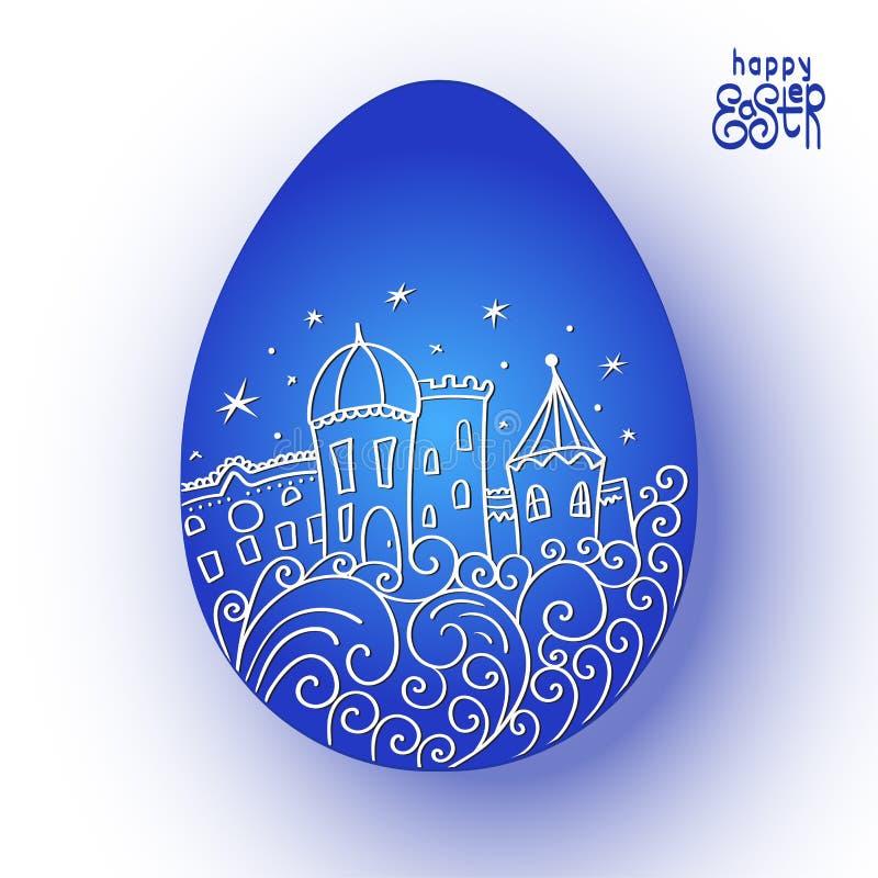 Joyeuses Pâques Oeuf de pâques bleu avec le modèle de ville Chambres, étoiles, vagues stylisées Illustration de vecteur illustration de vecteur