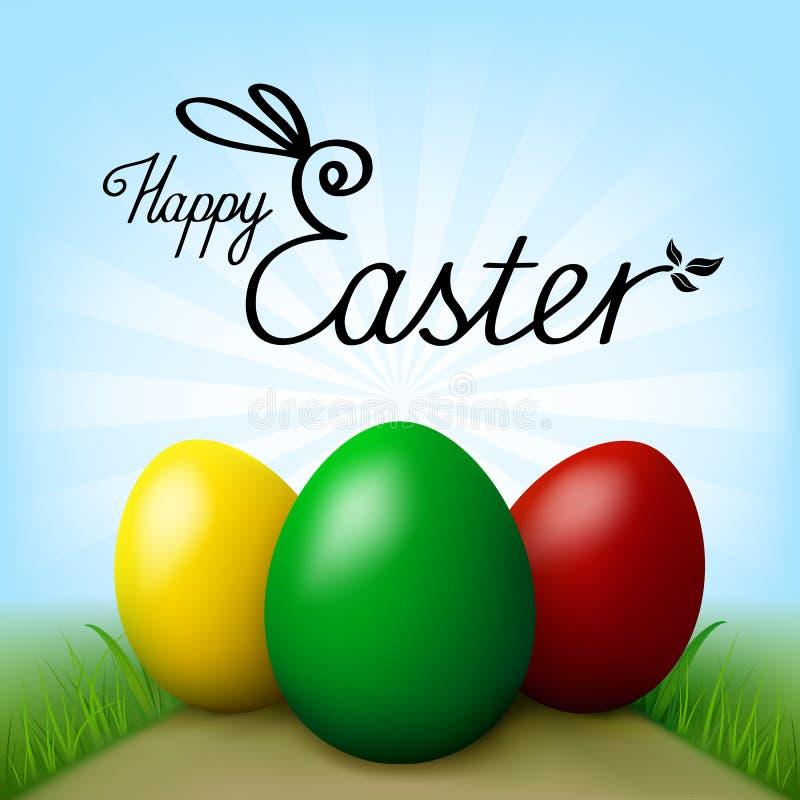 Joyeuses Pâques Oeufs avec l'herbe verte Ciel bleu avec des rayons comme fond illustration de vecteur