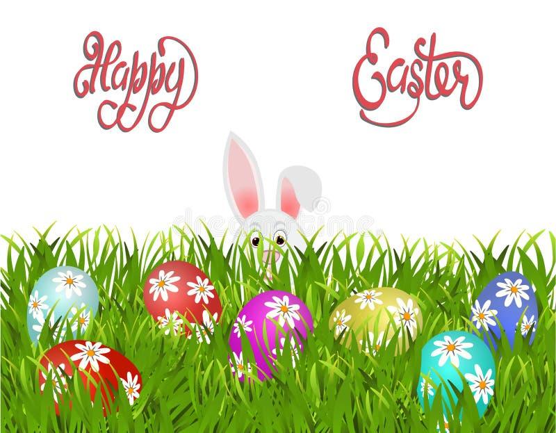 Joyeuses Pâques Pâques a peint des oeufs avec un modèle des marguerites et d'un lapin dans l'herbe D'isolement sur le fond blanc illustration stock