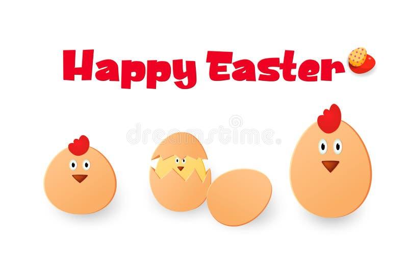 Joyeuses Pâques Poulets, oeufs et coqs de Pâques sur un fond blanc Éléments pour votre conception Descripteur pour la carte de vo illustration stock