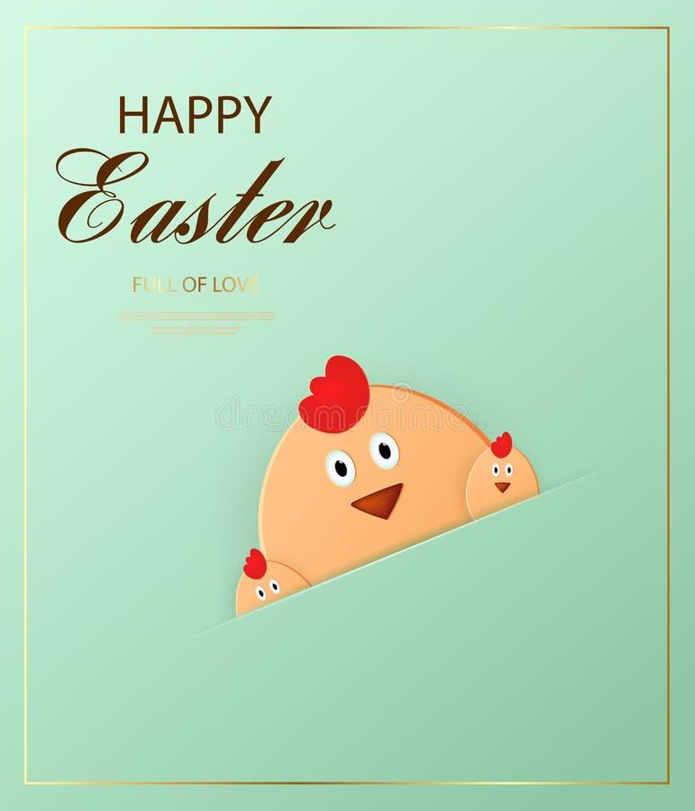 Joyeuses Pâques Poussin de Pâques regardant le fond vert Descripteur pour la carte de voeux style de coupe de papier illustration libre de droits