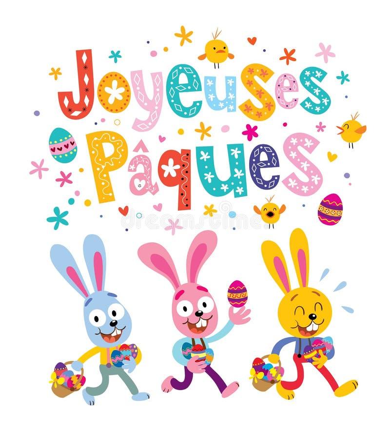 Joyeuses Paques lycklig påsk i franskt hälsningkort med gulliga påskkaniner stock illustrationer