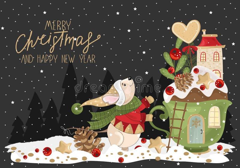 Joyeuses salutations de Noël avec la souris, la coupe festive, les branches et les bonbons illustration stock