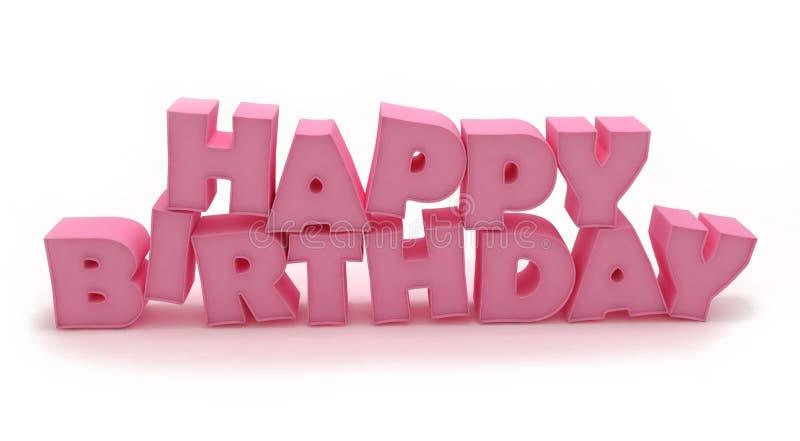 joyeux anniversaire 3D rose illustration stock