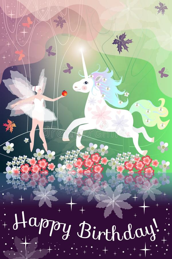 Joyeux anniversaire Belle carte de voeux avec la fille et la licorne féeriques dans la forêt magique illustration libre de droits