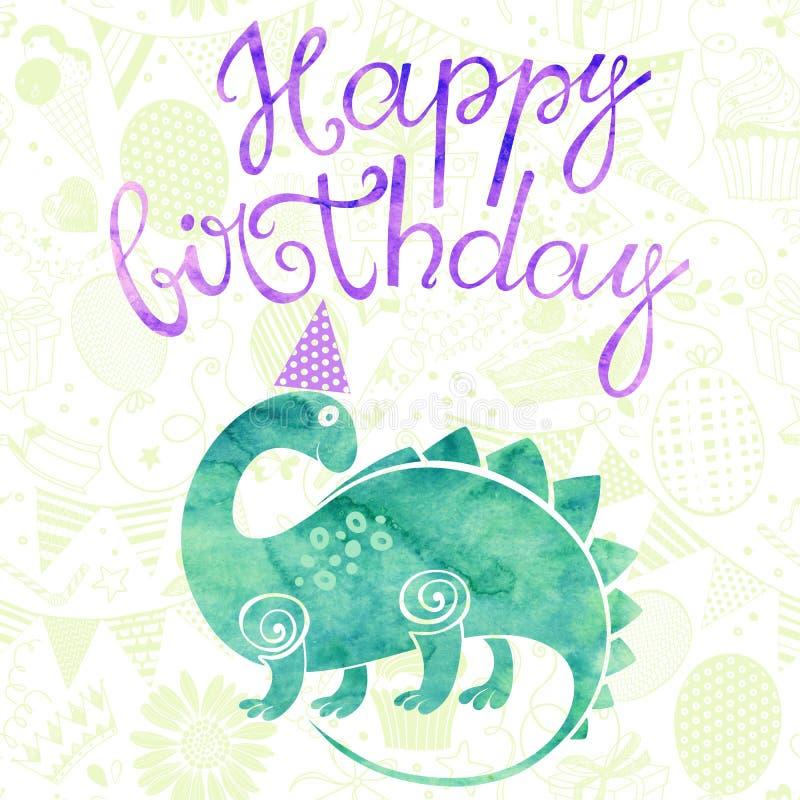 joyeux anniversaire carte de voeux avec un dinosaure de bande dessin e d 39 aquarelle illustration. Black Bedroom Furniture Sets. Home Design Ideas
