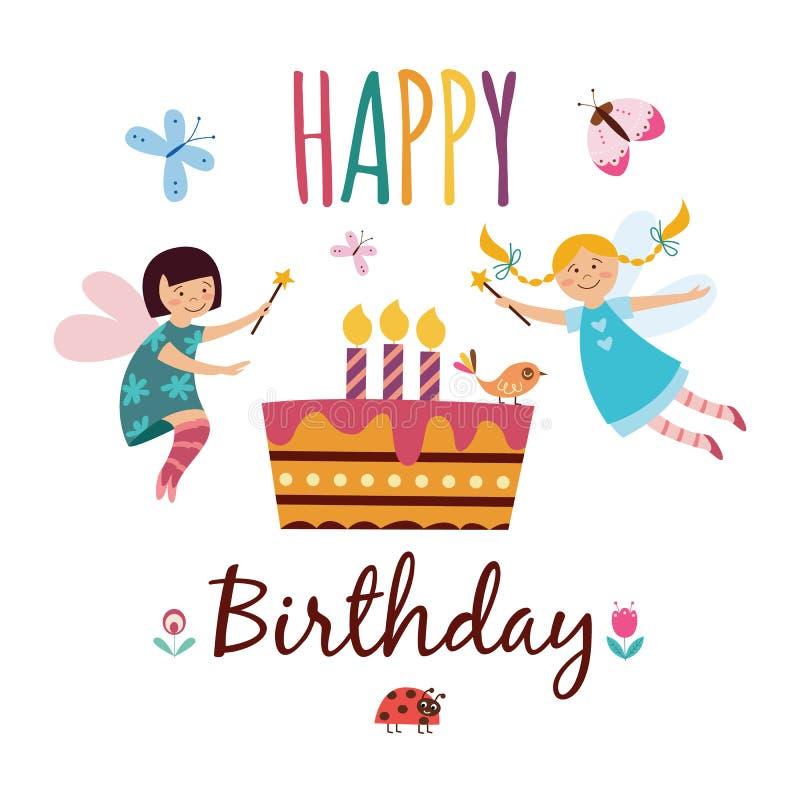 Joyeux anniversaire - carte de voeux d'enfants avec les filles féeriques mignonnes avec les baguettes magiques magiques illustration de vecteur