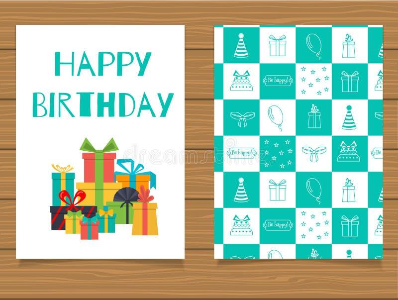 Download Joyeux Anniversaire Carte De Voeux De Lettrage Et Son Verso Avec Une Conception Abstraite Illustration de Vecteur - Illustration du drapeau, invitation: 76088755